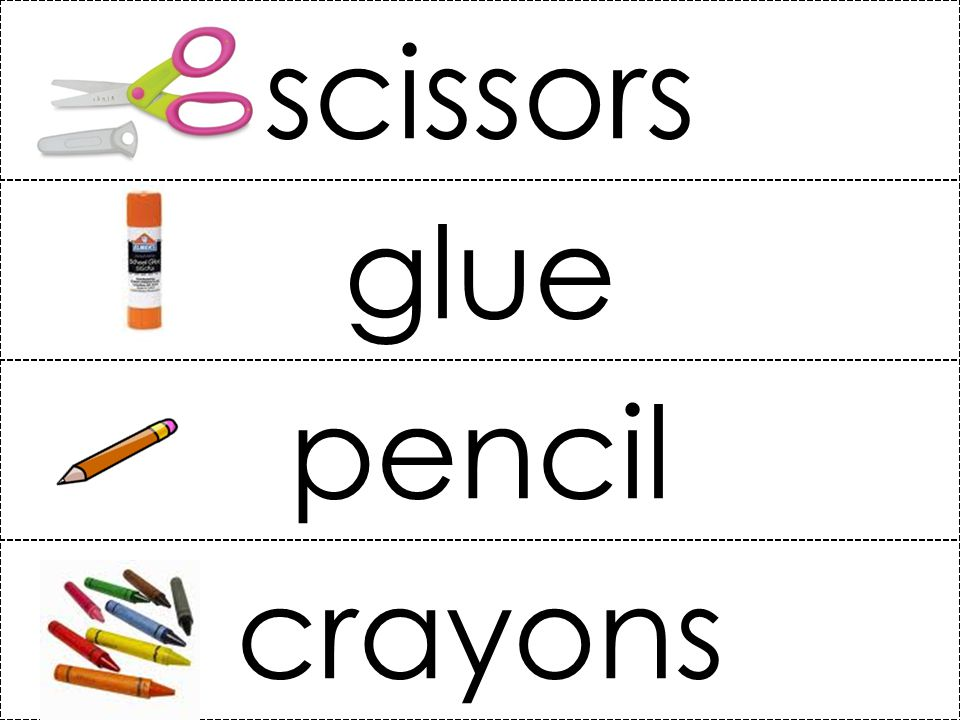 scissors glue pencil crayons