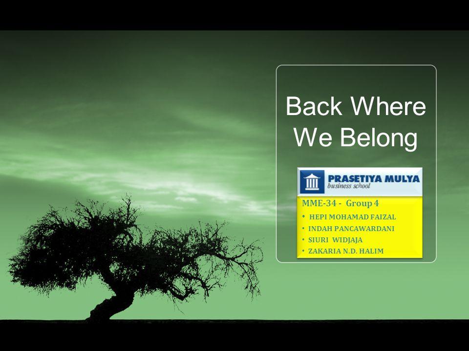 Back Where We Belong MME-34 - Group 4 HEPI MOHAMAD FAIZAL INDAH PANCAWARDANI SIURI WIDJAJA ZAKARIA N.D.
