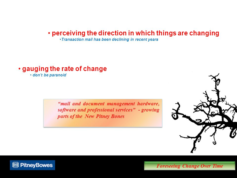 Foreseeing Change Over Time perceiving the direction in which things are changing Transaction mail has been declining in recent years gauging the rate of change don't be paranoid mail and document management hardware, software and professional services - growing parts of the New Pitney Bones