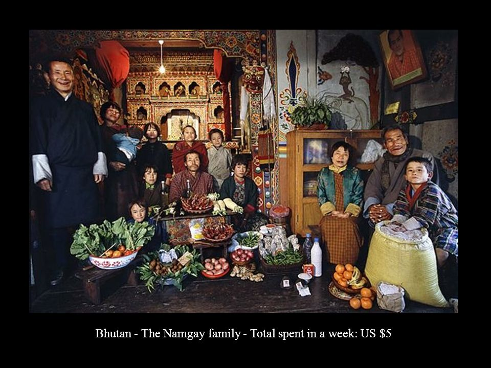 Bhutan - The Namgay family - Total spent in a week: US $5