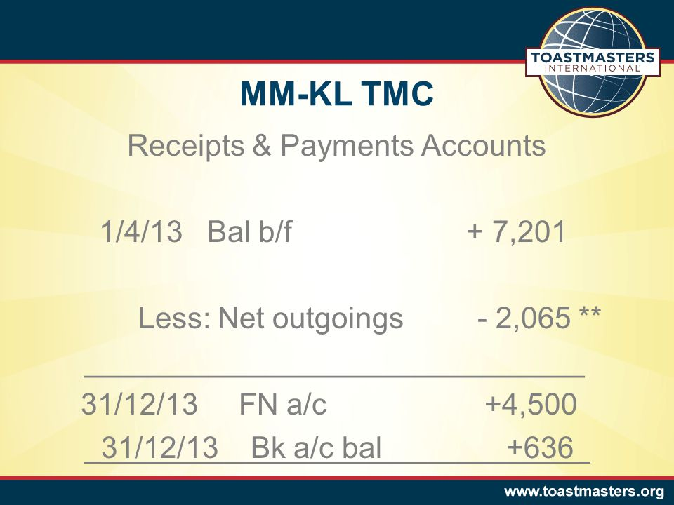 MM-KL TMC Receipts & Payments Accounts 1/4/13 Bal b/f + 7,201 Less: Net outgoings - 2,065 ** ______________________________ 31/12/13 FN a/c +4,500 31/12/13 Bk a/c bal +636