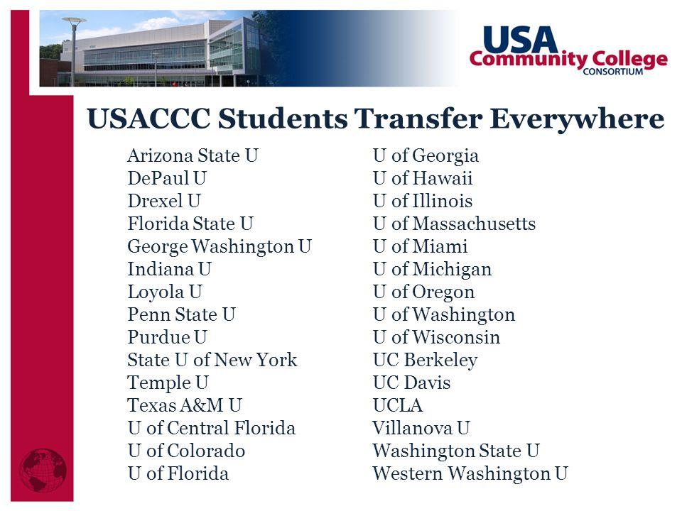 USACCC Students Transfer Everywhere Arizona State U DePaul U Drexel U Florida State U George Washington U Indiana U Loyola U Penn State U Purdue U Sta