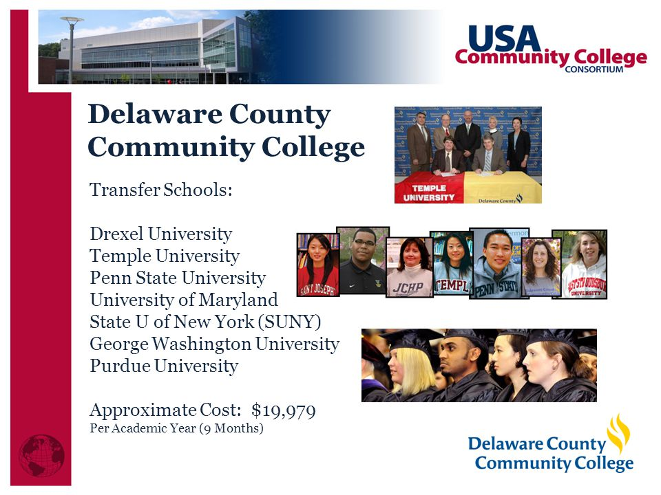 Transfer Schools: Drexel University Temple University Penn State University University of Maryland State U of New York (SUNY) George Washington University Purdue University Approximate Cost: $19,979 Per Academic Year (9 Months) Delaware County Community College