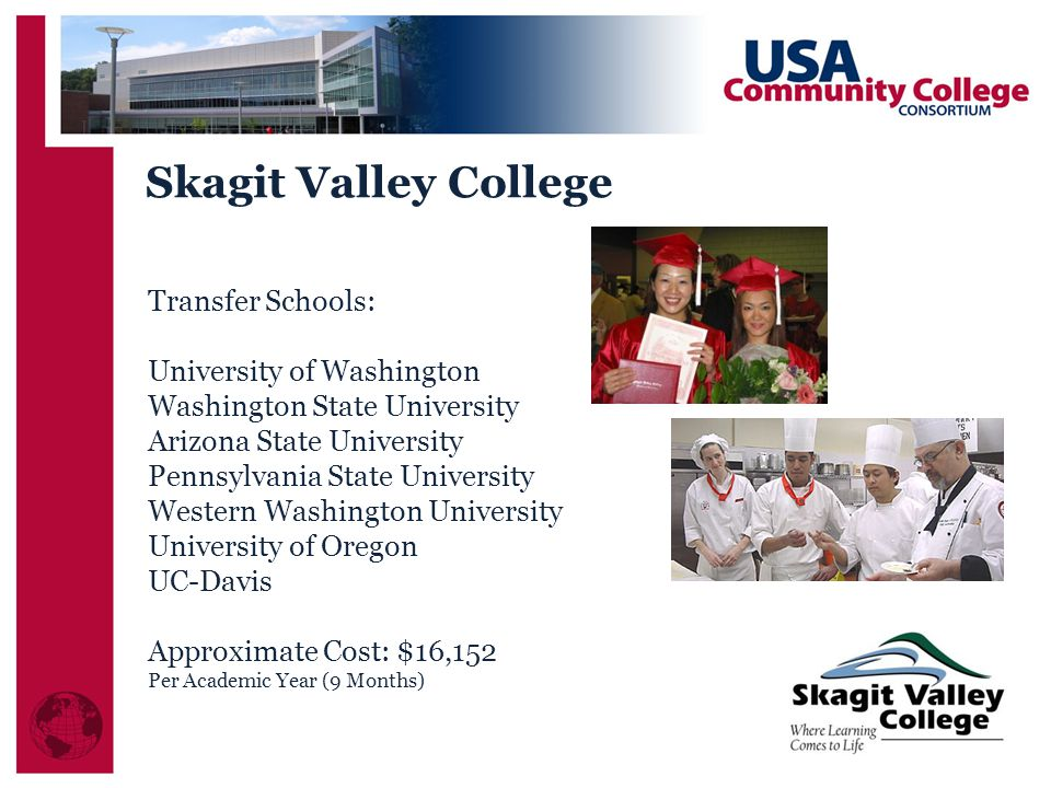 Transfer Schools: University of Washington Washington State University Arizona State University Pennsylvania State University Western Washington University University of Oregon UC-Davis Approximate Cost: $16,152 Per Academic Year (9 Months) Skagit Valley College