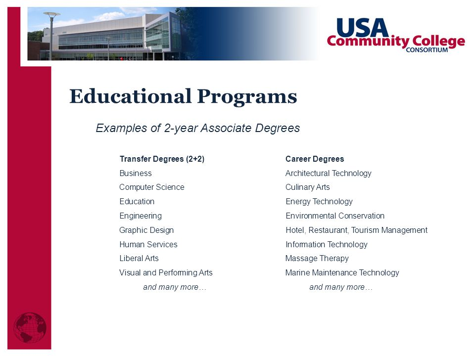 Examples of 2-year Associate Degrees Transfer Degrees (2+2) Career Degrees BusinessArchitectural Technology Computer Science Culinary Arts Education Energy Technology Engineering Environmental Conservation Graphic DesignHotel, Restaurant, Tourism Management Human Services Information Technology Liberal ArtsMassage Therapy Visual and Performing ArtsMarine Maintenance Technologyand many more… Educational Programs