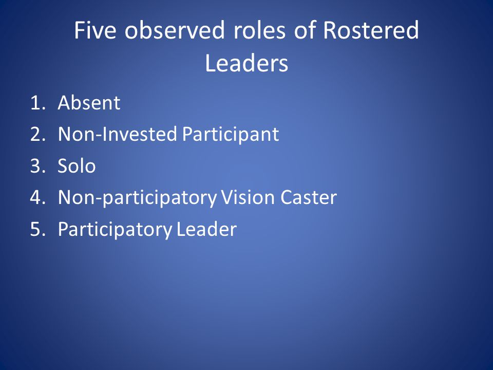 Five observed roles of Rostered Leaders 1.Absent 2.Non-Invested Participant 3.Solo 4.Non-participatory Vision Caster 5.Participatory Leader