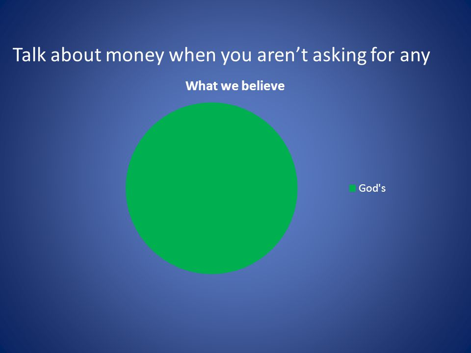 Talk about money when you aren't asking for any