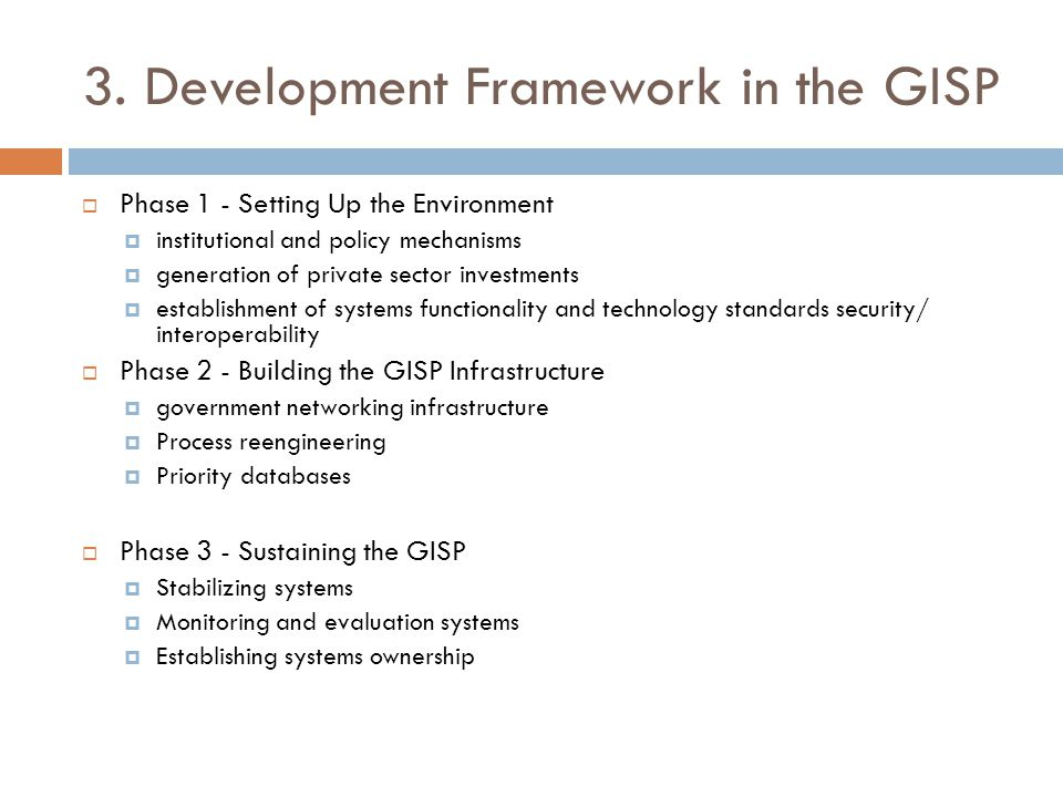  The GISP provided that the NICT develop the implementing program and monitoring system for the GISP, but it did not designate a government CIO or an agency that is adequately empowered to see to its implementation.