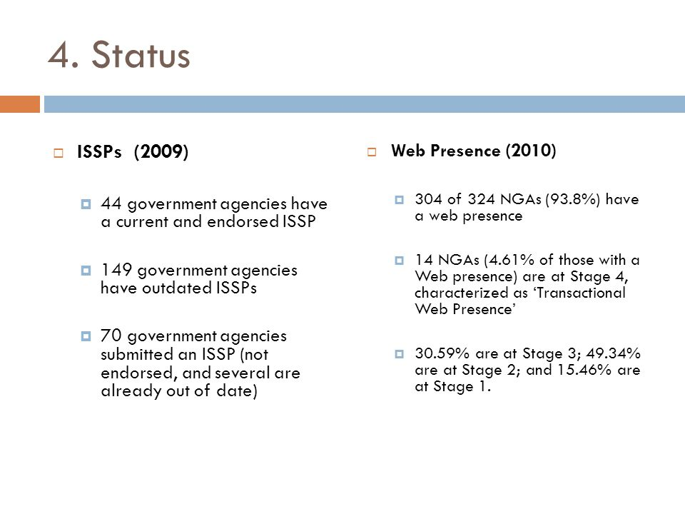 4. Status  ISSPs (2009)  44 government agencies have a current and endorsed ISSP  149 government agencies have outdated ISSPs  70 government agenc