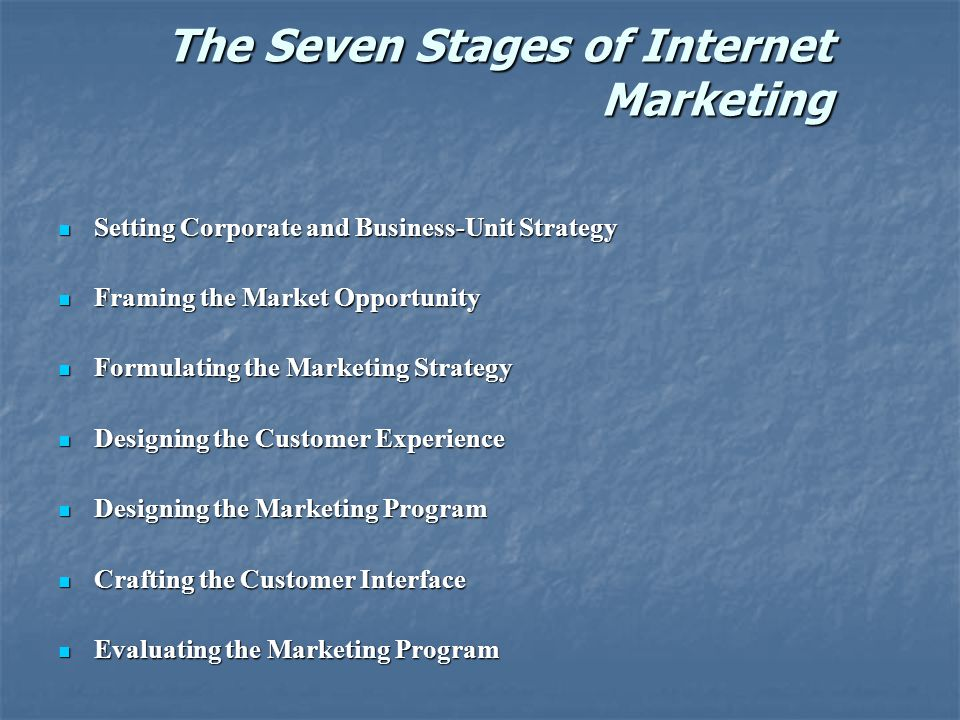 The Seven Stages of Internet Marketing Setting Corporate and Business-Unit Strategy Setting Corporate and Business-Unit Strategy Framing the Market Opportunity Framing the Market Opportunity Formulating the Marketing Strategy Formulating the Marketing Strategy Designing the Customer Experience Designing the Customer Experience Designing the Marketing Program Designing the Marketing Program Crafting the Customer Interface Crafting the Customer Interface Evaluating the Marketing Program Evaluating the Marketing Program