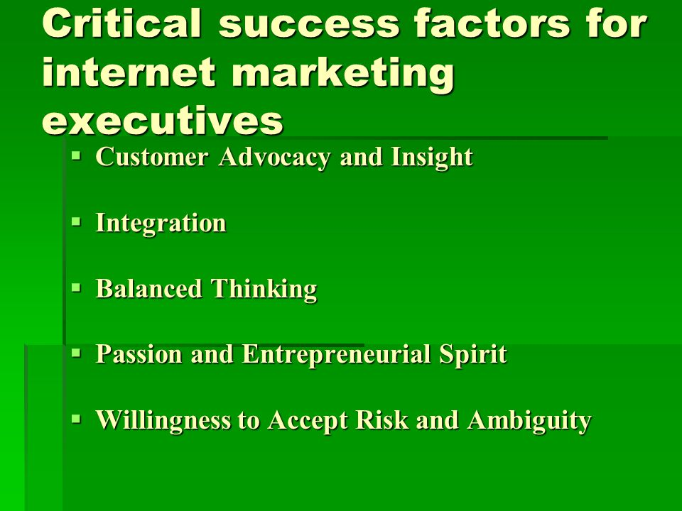 Critical success factors for internet marketing executives  Customer Advocacy and Insight  Integration  Balanced Thinking  Passion and Entrepreneurial Spirit  Willingness to Accept Risk and Ambiguity