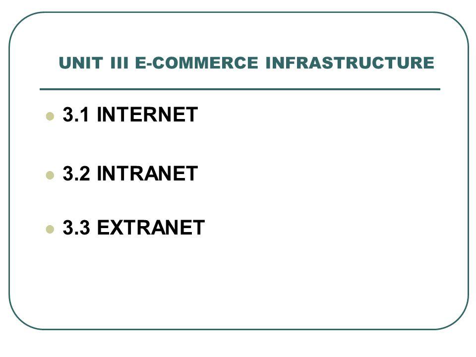 UNIT III E-COMMERCE INFRASTRUCTURE 3.1 INTERNET 3.2 INTRANET 3.3 EXTRANET