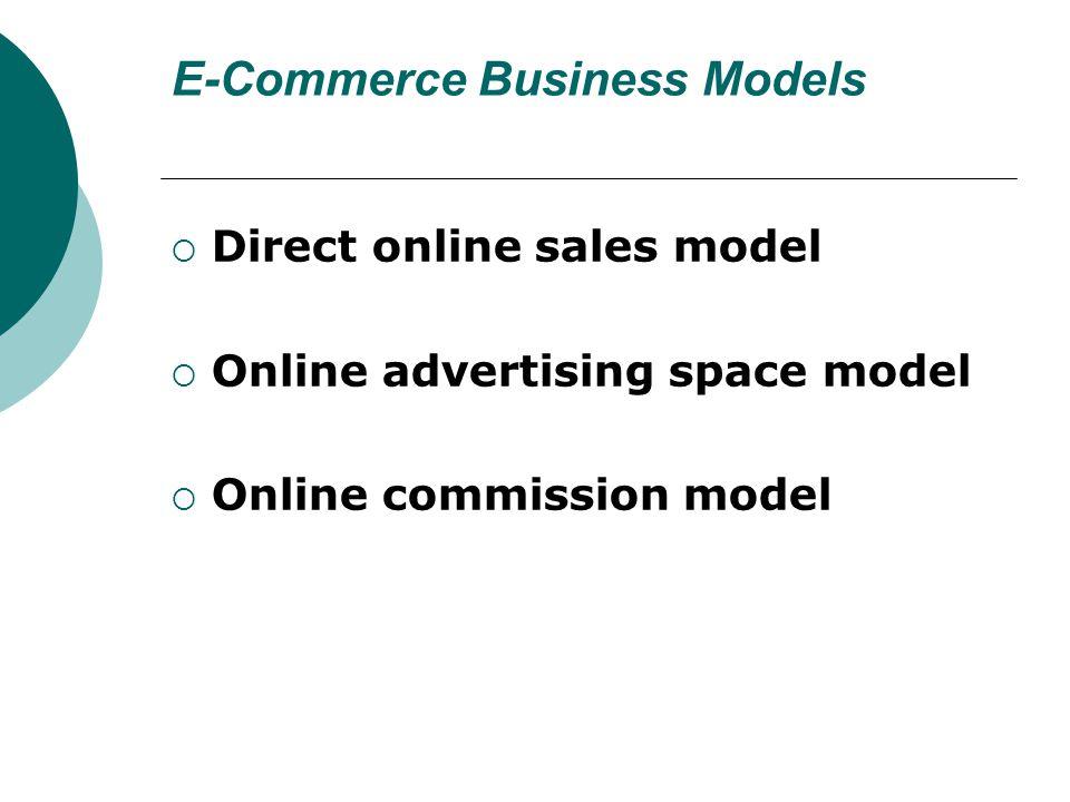 E-Commerce Business Models  Direct online sales model  Online advertising space model  Online commission model