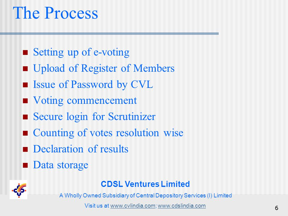 CDSL Ventures Limited A Wholly Owned Subsidiary of Central Depository Services (I) Limited Visit us at www.cvlindia.com; www.cdslindia.comwww.cvlindia.comwww.cdslindia.com 6 The Process Setting up of e-voting Upload of Register of Members Issue of Password by CVL Voting commencement Secure login for Scrutinizer Counting of votes resolution wise Declaration of results Data storage