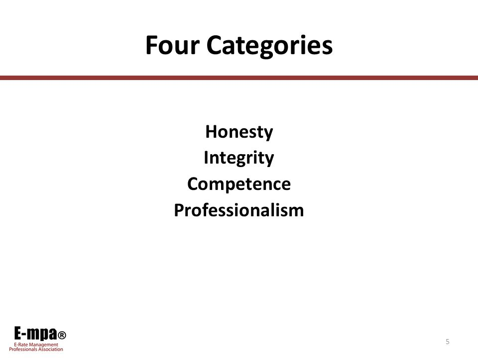 ® Four Categories Honesty Integrity Competence Professionalism 5