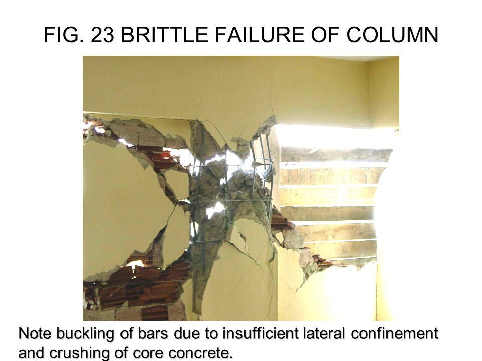 FIG. 23 BRITTLE FAILURE OF COLUMN Note buckling of bars due to insufficient lateral confinement and crushing of core concrete.