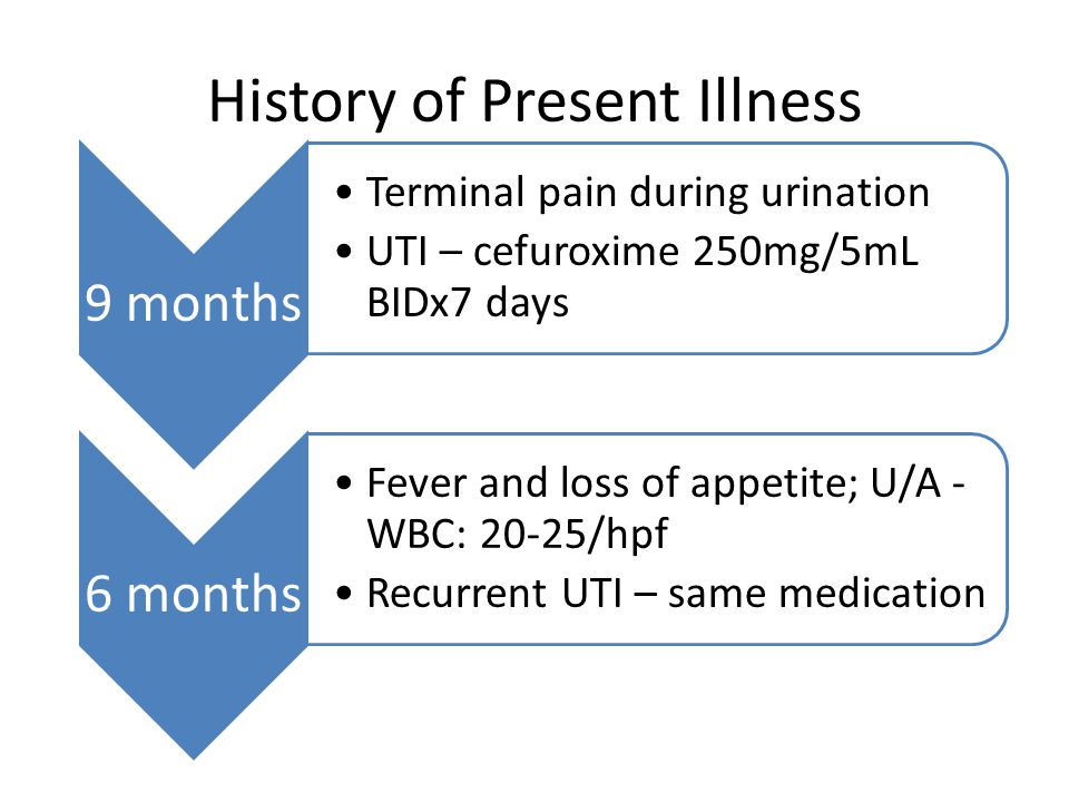 History of Present Illness 9 months Terminal pain during urination UTI – cefuroxime 250mg/5mL BIDx7 days 6 months Fever and loss of appetite; U/A - WB