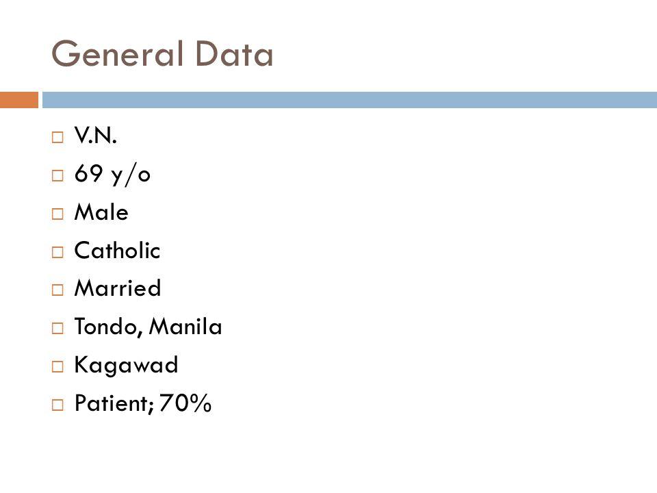 General Data  V.N.  69 y/o  Male  Catholic  Married  Tondo, Manila  Kagawad  Patient; 70%