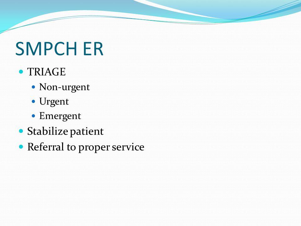 SMPCH ER TRIAGE Non-urgent Urgent Emergent Stabilize patient Referral to proper service