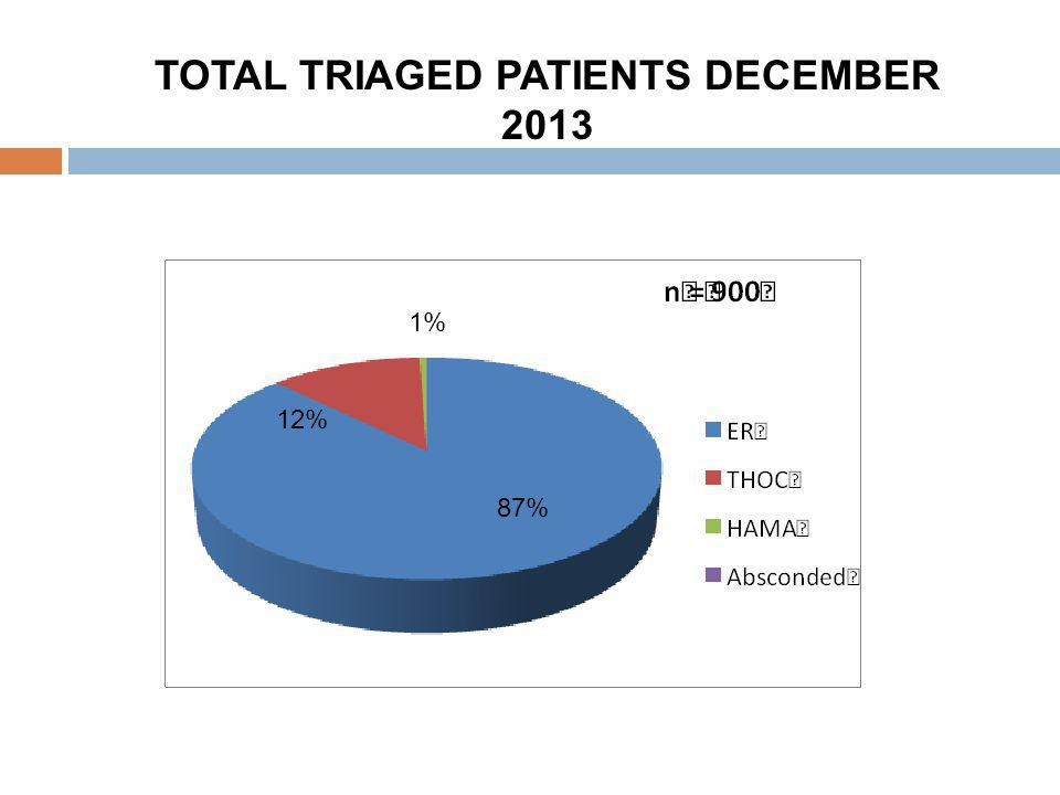 TOTAL TRIAGED PATIENTS DECEMBER 2013 87% 12% 1%