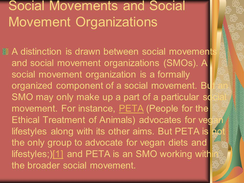 Social Movements and Social Movement Organizations A distinction is drawn between social movements and social movement organizations (SMOs). A social