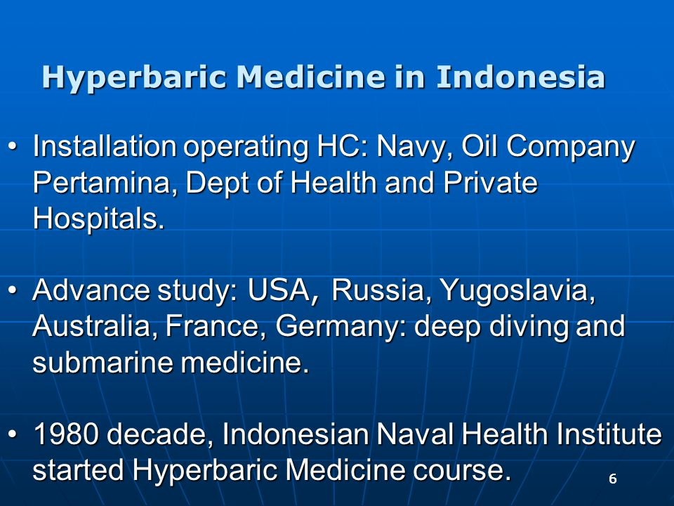 77 Ongoing process:Ongoing process:  Diving and Hyperbaric medicine service standardization for medical doctor and paramedic.