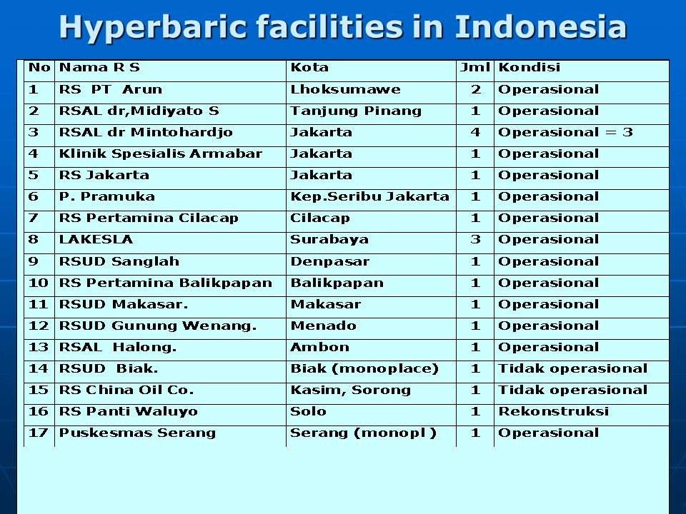 Hyperbaric Chamber  Support diving activities in Indonesia and Asean countries  T/ OHB : DCS and Cilical case  Preventive and Promoting  Research and Training