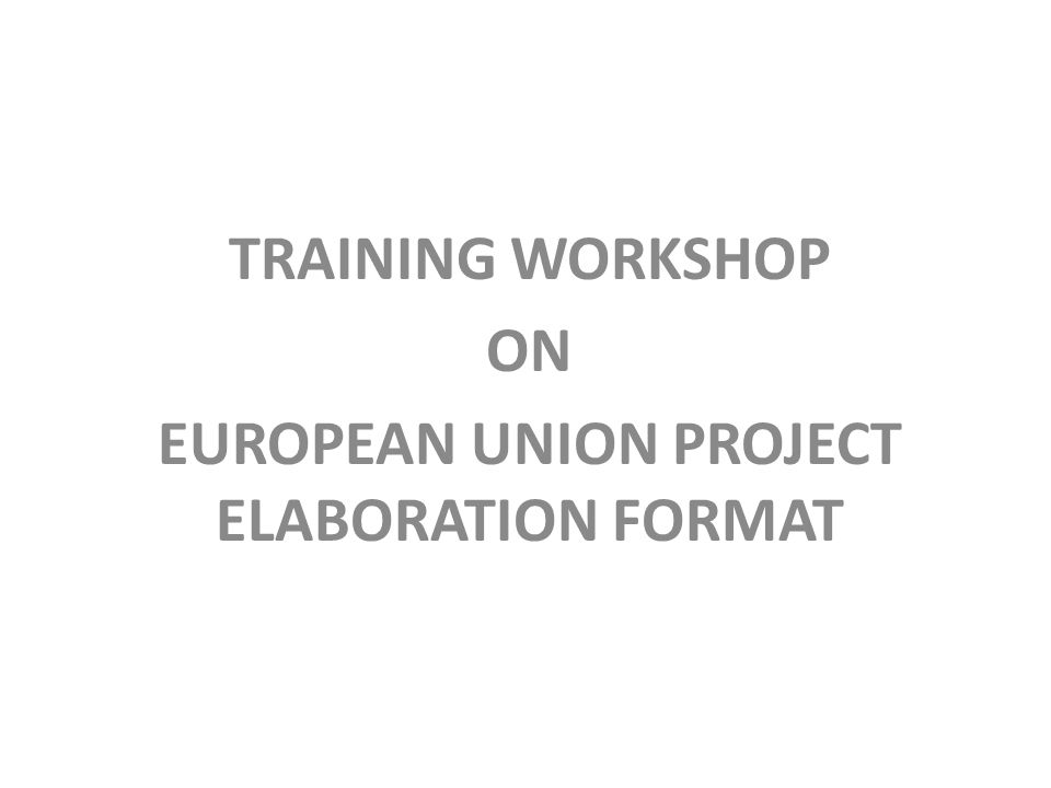 TRAINING WORKSHOP ON EUROPEAN UNION PROJECT ELABORATION FORMAT