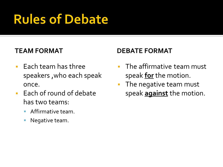 TEAM FORMAT  Each team has three speakers,who each speak once.