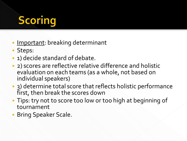  Important: breaking determinant  Steps:  1) decide standard of debate.