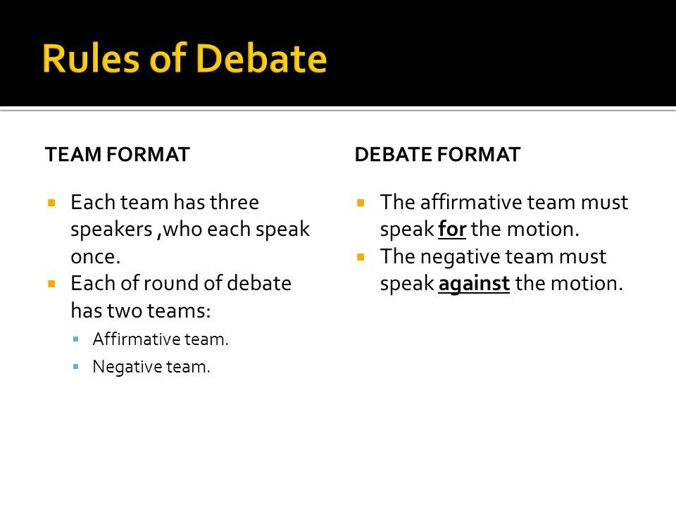 TEAM FORMAT  Each team has three speakers,who each speak once.  Each of round of debate has two teams:  Affirmative team.  Negative team. DEBATE F