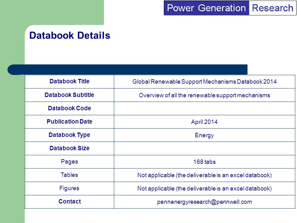BI Marketing Analyst input into report marketing Databook TitleGlobal Renewable Support Mechanisms Databook 2014 Databook SubtitleOverview of all the renewable support mechanisms Databook Code Publication DateApril 2014 Databook TypeEnergy Databook Size Pages168 tabs TablesNot applicable (the deliverable is an excel databook) FiguresNot applicable (the deliverable is an excel databook) Contactpennenergyresearch@pennwell.com Databook Details