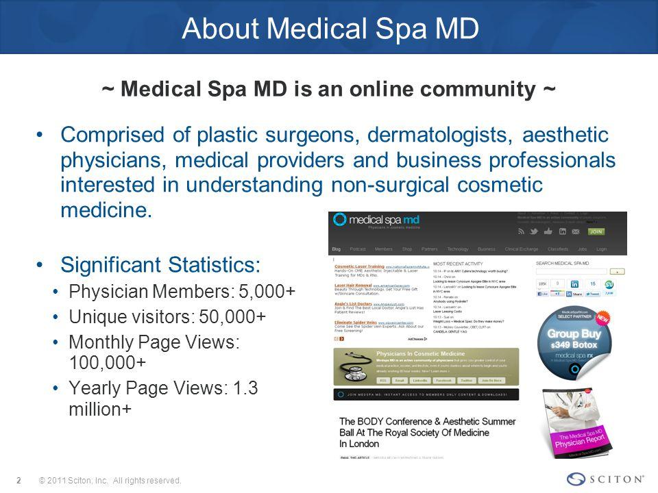 September 2011 Physician Report Demographics © 2011 Sciton, Inc.