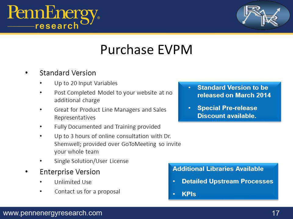 www.pennenergyresearch.com Standard Version Up to 20 Input Variables Post Completed Model to your website at no additional charge Great for Product Line Managers and Sales Representatives Fully Documented and Training provided Up to 3 hours of online consultation with Dr.