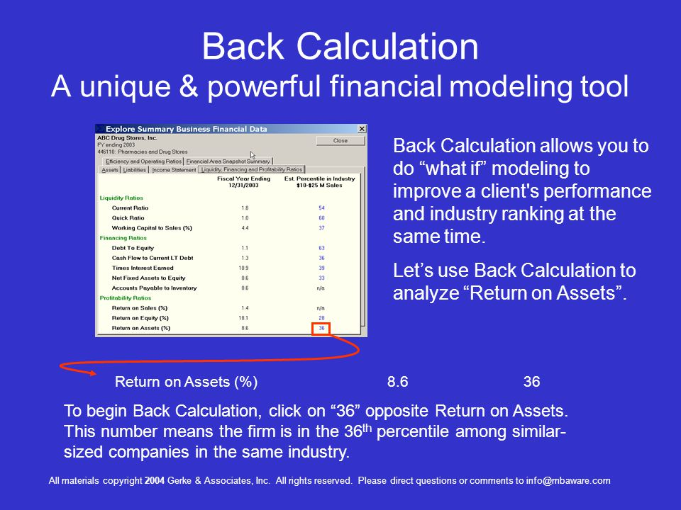 Back Calculation A unique & powerful financial modeling tool Return on Assets (%)8.636 Back Calculation allows you to do what if modeling to improve a client s performance and industry ranking at the same time.
