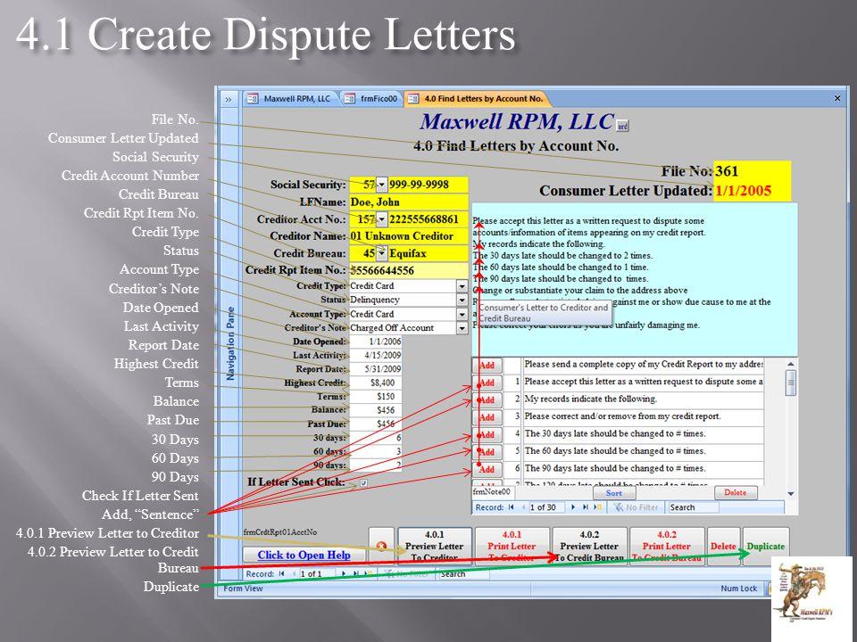 4.1 Create Dispute Letters File No.