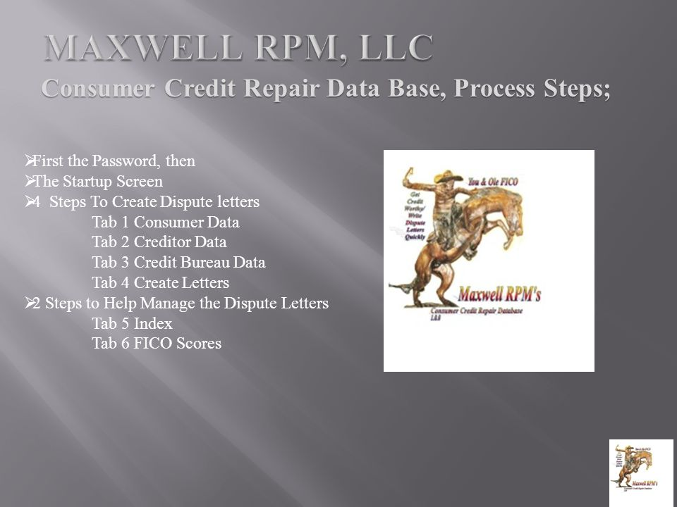 Consumer Credit Repair Data Base, Process Steps;  First the Password, then  The Startup Screen  4 Steps To Create Dispute letters Tab 1 Consumer Data Tab 2 Creditor Data Tab 3 Credit Bureau Data Tab 4 Create Letters  2 Steps to Help Manage the Dispute Letters Tab 5 Index Tab 6 FICO Scores