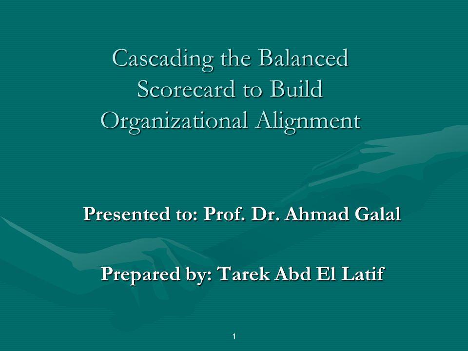 Cascading the Balanced Scorecard to Build Organizational Alignment Presented to: Prof.