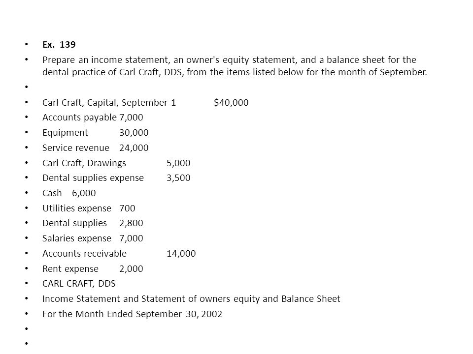 CARL CRAFT, DDS Income Statement For the Month Ended September 30, 2002 Revenues Service revenue $24,000 Expenses Salaries expense $7,000 Dental supplies expense 3,500 Rent expense 2,000 Utilities expense 700 Total expenses 13,200 Net income $10,800