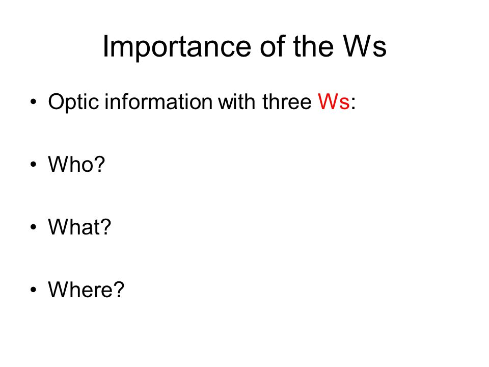 Importance of the Ws Optic information with three Ws: Who? What? Where?