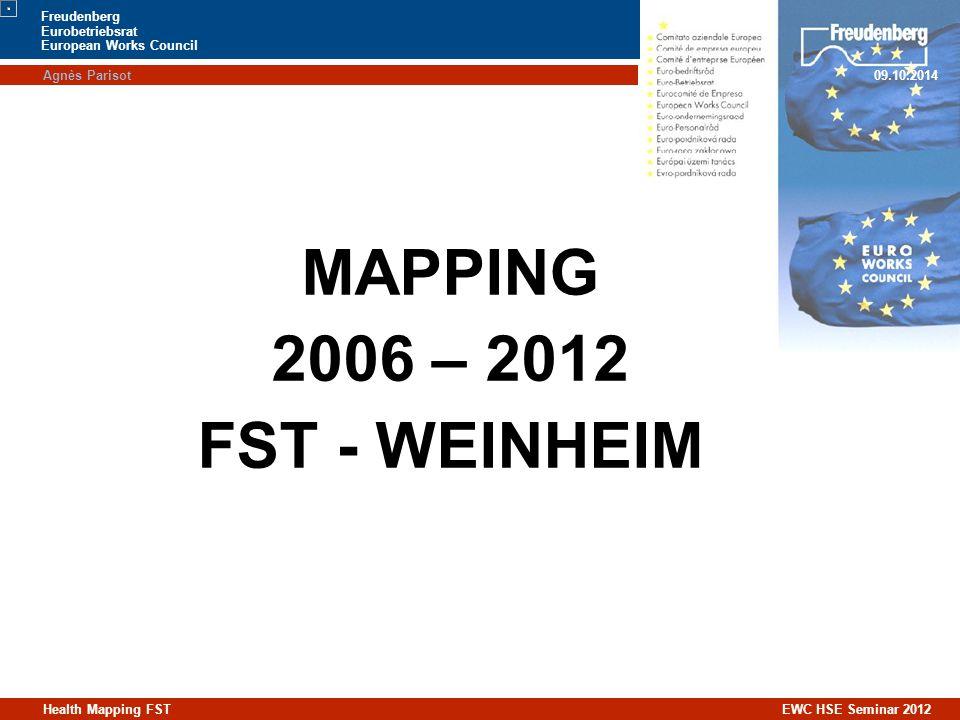 Agnès Parisot09.10.2014 Freudenberg Eurobetriebsrat European Works Council Health Mapping FST EWC HSE Seminar 2012 MAPPING 2006 – 2012 FST - WEINHEIM