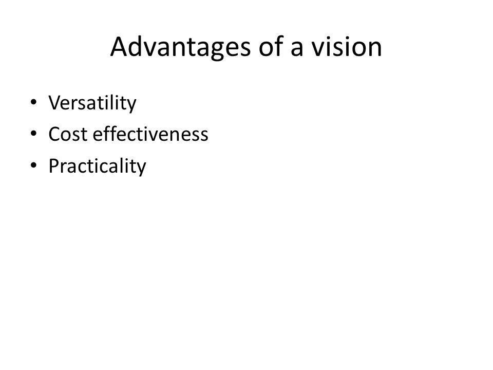 Advantages of a vision Versatility Cost effectiveness Practicality