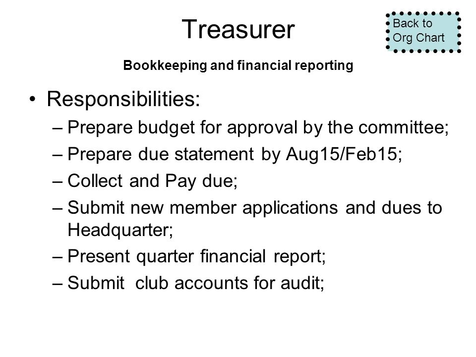 Treasurer Bookkeeping and financial reporting Responsibilities: –Prepare budget for approval by the committee; –Prepare due statement by Aug15/Feb15; –Collect and Pay due; –Submit new member applications and dues to Headquarter; –Present quarter financial report; –Submit club accounts for audit; Back to Org Chart