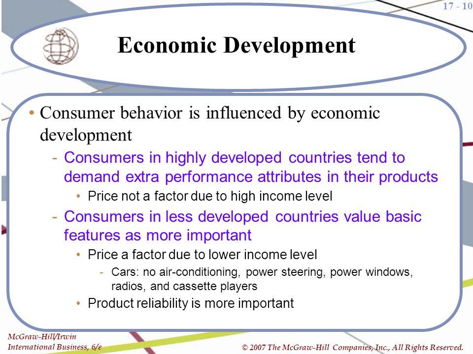 17 - 10 McGraw-Hill/Irwin International Business, 6/e © 2007 The McGraw-Hill Companies, Inc., All Rights Reserved. Economic Development Consumer behav