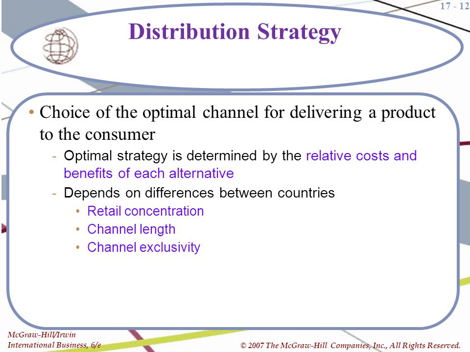 17 - 12 McGraw-Hill/Irwin International Business, 6/e © 2007 The McGraw-Hill Companies, Inc., All Rights Reserved. Distribution Strategy Choice of the