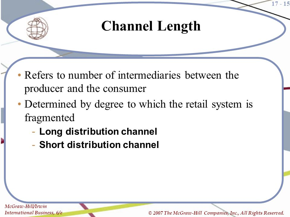 17 - 15 McGraw-Hill/Irwin International Business, 6/e © 2007 The McGraw-Hill Companies, Inc., All Rights Reserved. Channel Length Refers to number of