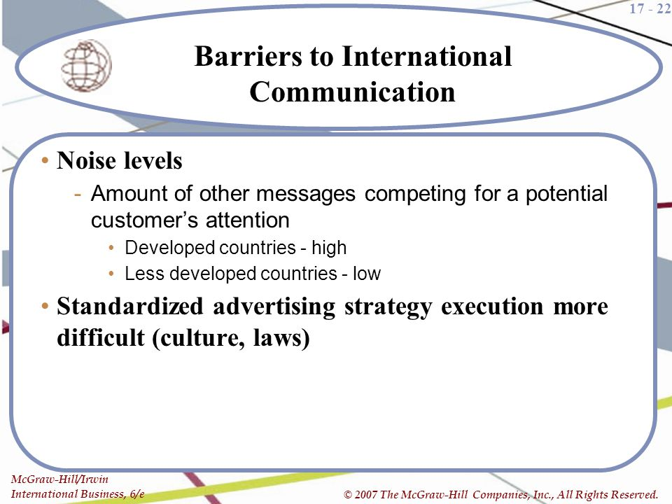 17 - 22 McGraw-Hill/Irwin International Business, 6/e © 2007 The McGraw-Hill Companies, Inc., All Rights Reserved. Barriers to International Communica