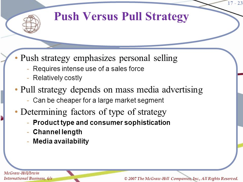 17 - 23 McGraw-Hill/Irwin International Business, 6/e © 2007 The McGraw-Hill Companies, Inc., All Rights Reserved. Push Versus Pull Strategy Push stra