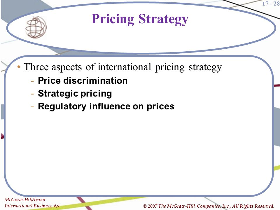 17 - 28 McGraw-Hill/Irwin International Business, 6/e © 2007 The McGraw-Hill Companies, Inc., All Rights Reserved. Pricing Strategy Three aspects of i