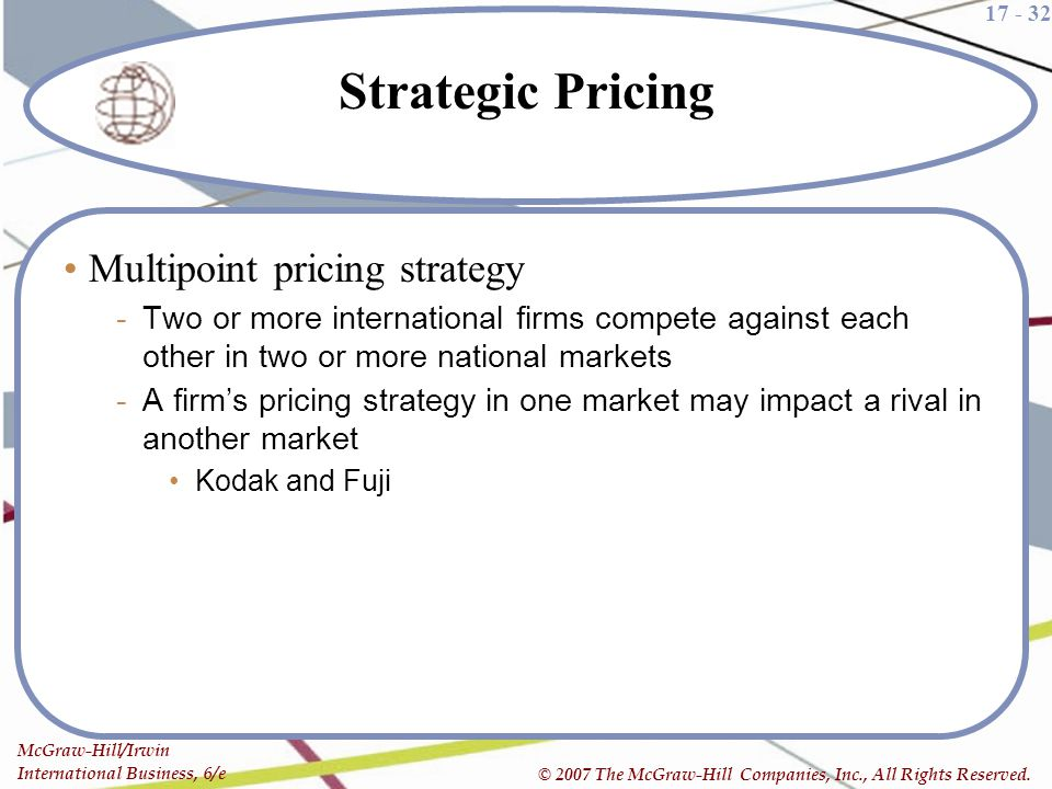 17 - 32 McGraw-Hill/Irwin International Business, 6/e © 2007 The McGraw-Hill Companies, Inc., All Rights Reserved. Strategic Pricing Multipoint pricin